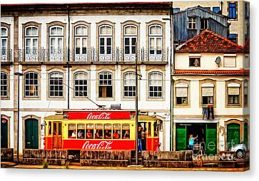 Street Scene With Red Tram - Oporto Canvas Print by Mary Machare