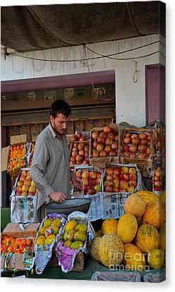 Street Side Fruit Vendor Islamabad Pakistan Canvas Print by Imran Ahmed