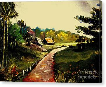 Canvas Print featuring the painting Street  To Countryside by Jason Sentuf