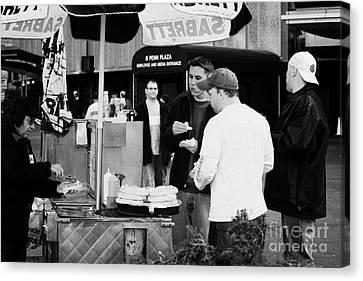 Street Vendor Selling Hot Dogs People New York City Manhattan Canvas Print by Joe Fox