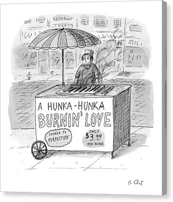 Street Vendor Stands Behind His Cart Canvas Print by Roz Chast
