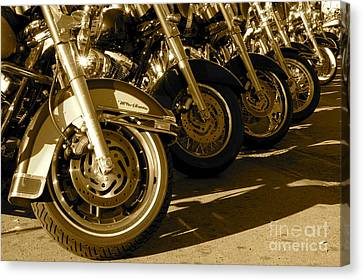Street Vibrations Sepia Canvas Print by Vinnie Oakes
