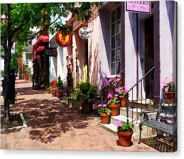 Dresses Canvas Print - Alexandria Va - Street With Art Gallery And Tobacconist by Susan Savad