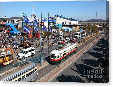 Streetcars At Pier 39 San Francisco California 5d26062 Canvas Print