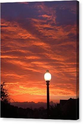 Streetlight Sunset Texas Canvas Print by Tony Ramos