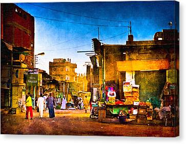 Streets Of An Egyptian Village Canvas Print by Mark E Tisdale