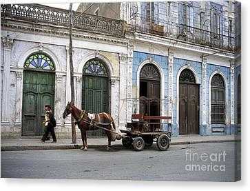 Horse And Cart Canvas Print - Streets Of Cienfuegos by James Brunker