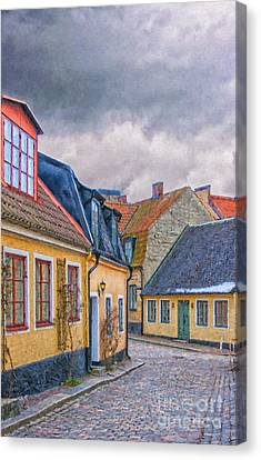 Streets Of Lund Digital Painting Canvas Print