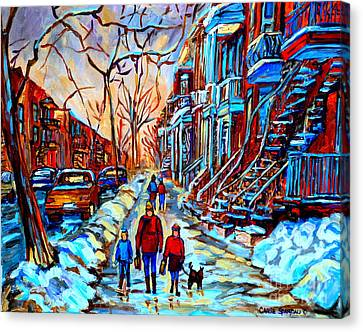 Montreal Winter Scenes Canvas Print - Streets Of Montreal by Carole Spandau