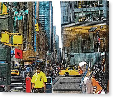 Streets Of New York City 15 Canvas Print by Mario Perez