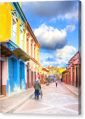 Streets Of San Cristobal De Las Casas - Colorful Mexico Canvas Print