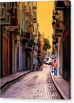 Streets Of San Juan Canvas Print by Karen Wiles