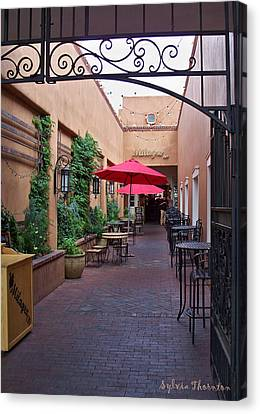 Canvas Print featuring the photograph Streets Of Santa Fe by Sylvia Thornton