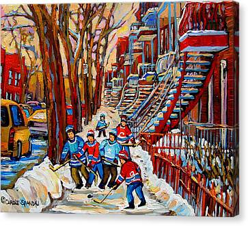 Streets Of Verdun Hockey Art Montreal Street Scene With Outdoor Winding Staircases Canvas Print by Carole Spandau
