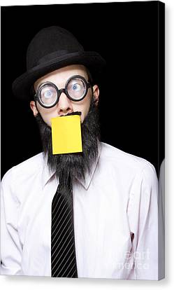 Sticky Note Canvas Print - Stressed Mad Scientist With Sticky Note On Face by Jorgo Photography - Wall Art Gallery