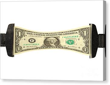 Banknotes Canvas Print - Stretching The Dollar by Olivier Le Queinec