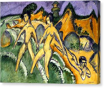 Striding Into The Sea Canvas Print by Ernst Ludwig Kirchner