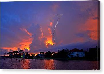 Canvas Print featuring the photograph Strike Up The Middle At Sunset by Jeff at JSJ Photography