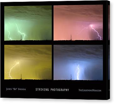 Striking Lightning Photography Canvas Print by James BO  Insogna