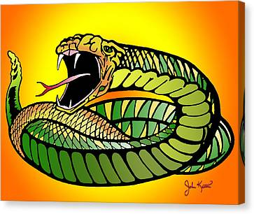 Striking Snake Canvas Print by John Keaton