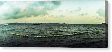 String Of Balloons On The Bosphorus Canvas Print by Panoramic Images