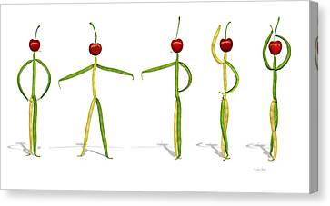 Canvas Print featuring the photograph Stringbean Cherries Five Ballet Positions  by Donna Basile