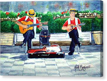 Strings At The Sidewalk Cafe Canvas Print by Ruth Bodycott