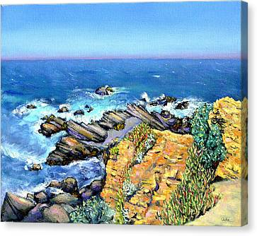 Striped Rocks Near Timber Cove Canvas Print by Asha Carolyn Young