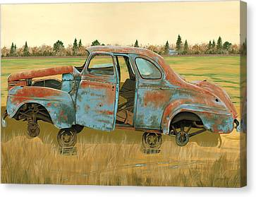 Rusted Cars Canvas Print - Stripped Down by John Wyckoff