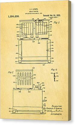 Strite Bread Toaster Patent Art 1921 Canvas Print by Ian Monk