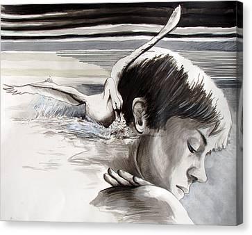 Flying Swan Canvas Print - Stroke by Rene Capone