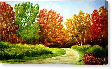 Canvas Print featuring the painting Stroll Into Autumn by Thomas Kuchenbecker