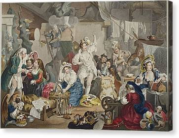 Rehearsing Canvas Print - Strolling Actresses Dressing In A Barn by William Hogarth
