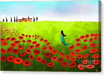 Strolling Among The Red Poppies Canvas Print by Anita Lewis