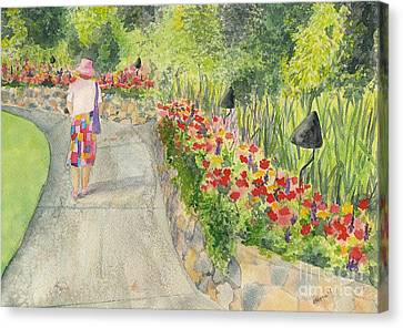 Canvas Print featuring the painting Strolling Butchart Gardens by Vicki  Housel