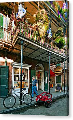 Wrought Iron Bicycle Canvas Print - Strolling In The Quarter by Steve Harrington