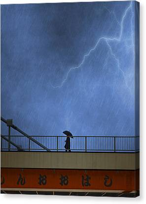 Strolling In The Rain Canvas Print
