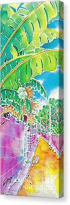 Strolling The Village Canvas Print by Hisayo Ohta