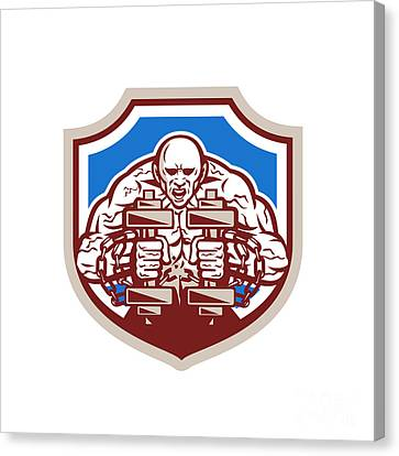 Strongman Lifting Dumbbells Shield Retro Canvas Print by Aloysius Patrimonio
