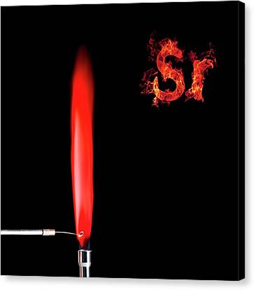 Strontium Flame Test Canvas Print by Science Photo Library