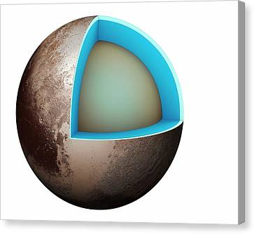 Structure Of Pluto Canvas Print by Mikkel Juul Jensen