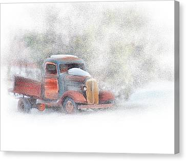 Stuck In Snow Canvas Print by Mary Timman