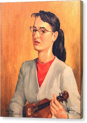 Student Of Violin Canvas Print by Art By Tolpo Collection
