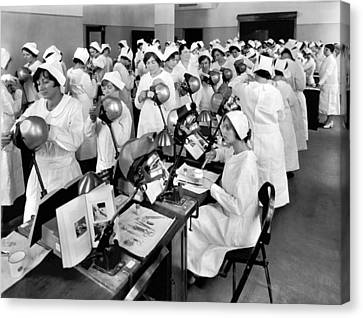 Dentistry Canvas Print - Students At A Dental School by Underwood Archives