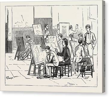 Students Life In A Continental Art School The Antique Room Canvas Print by English School