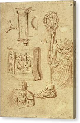 Antiquities Canvas Print - Studies Of Antiquities Recto,  Studies Of Antiquities Verso by Litz Collection