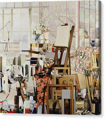 Studio, 1986 Oil On Canvas Canvas Print by Jeremy Annett