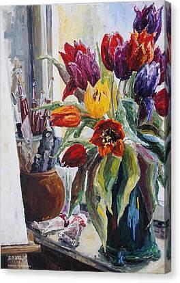 Studio Corner With Tulips Canvas Print by Barbara Pommerenke