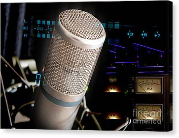 Canvas Print featuring the photograph Studio Microphone And Recording Gear by Gunter Nezhoda