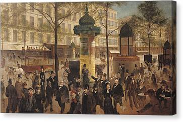 Study For A Panorama Of The Boulevard De Montmartre, 1877 Oil On Canvas Canvas Print